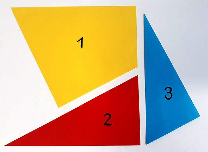 Die 3 Formen für das Experiment
